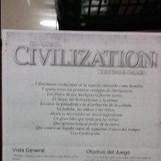 Juegos Antiguos: TRADUCCION CIVILIZATION DE SID MEIER. Lote 54224997