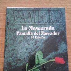 Juegos Antiguos: VAMPIRO LA MASCARADA PANTALLA + CONTACTOS Y VICTIMAS (LA FACTORIA IDEAS MUNDO DE TINIEBLAS LF1002). Lote 57191101