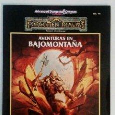 Juegos Antiguos: ADVANCED DUNGEONS AND DRAGONS - AVENTURAS EN BAJOMONTAÑA - REINOS OLVIDADOS - ZINCO - JUEGO DE ROL. Lote 127467715