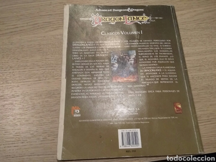 Juegos Antiguos: DRAGON LANCE. CLASICOS VOLUMEN I. CUATRO AVENTURAS OFICIALES DEL JUEGO. ZINCO. 1992 - Foto 4 - 131013940