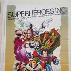 Jogos Antigos: POSTER - CARLOS PACHECO - SUPERHEROES INC - EL PRIMER JUEGO DE SUPERHEROES AMBIENTADO EN ESPAÑA. Lote 133730286