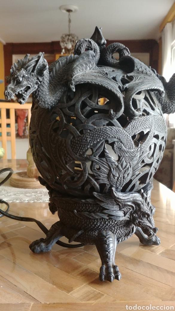 Juegos Antiguos: Fantastica lampara con gargolas o dragones, ver fotos - Foto 3 - 147463857