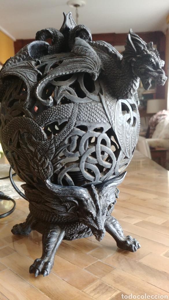 Juegos Antiguos: Fantastica lampara con gargolas o dragones, ver fotos - Foto 4 - 147463857