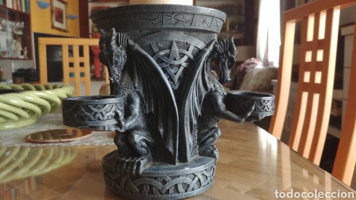 Juegos Antiguos: Fantastico candelabro con gargolas o dragones, ver fotos - Foto 2 - 147464116