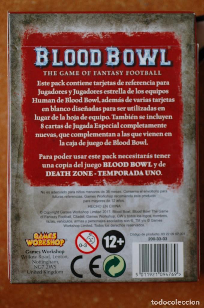 Juegos Antiguos: BLOOD BOWL PAQUETE DE CARTAS EN ESPAÑOL EQUIPO HUMANO - Foto 2 - 172028162