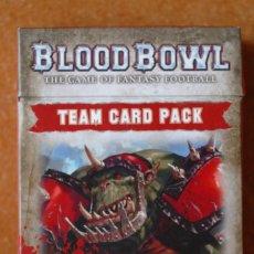 Juegos Antiguos: BLOOD BOWL PAQUETE DE CARTAS EN ESPAÑOL EQUIPO ORCO. Lote 172028215