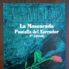 Juegos Antiguos: PANTALLA DEL NARRADOR VAMPIRO: LA MASCARADA - 2A EDICIÓN - MUNDO DE TINIEBLAS - SUPLEMENTO PERSONAJE. Lote 172656472
