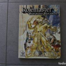 Juegos Antiguos: ROLEMASTER JUEGO ROL LIBRO CHARACTER RECORDS SUPLEMENTO ICE 1990 IRON CROWN MERP SEÑOR ANILLOS JOC. Lote 178281860
