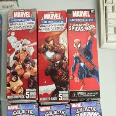 Juegos Antiguos: MARVEL HEROCLIX GALACTIC GUARDIANS - MUTATIONS AND MONSTER - SPIDERMAN ¡ 6 BOOSTER PACK ! WIZKIDS. Lote 35396780