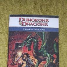 Juegos Antiguos: DUNGEONS & DRAGONS 4.0 HOJAS DE PERSONAJES (DEVIR DD41003). Lote 182464503