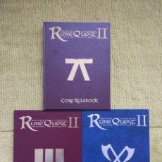 Juegos Antiguos: RUNEQUEST II - CORE RULEBOOK + ARMS AND EQUIPMENT + VIKINGS (MOONGOSE) - TAPA DURA. Lote 182464897