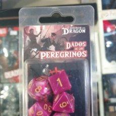 Juegos Antiguos: SET DE DADOS DEL PEREGRINO DE EL RESURGIR DEL DRAGON PARA JUGAR A ROL. Lote 194621205