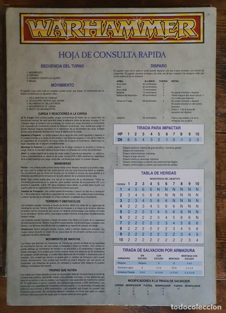 WARHAMMER HOJA DE CONSULTA RAPIDA - SEÑALES DE USO (Juguetes - Rol y Estrategia - Juegos de Rol)