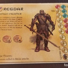 Juegos Antiguos: DUNGEONS DRAGONS TARJETA HEROE REGDAR HERO CARD DRAGONES MAZMORRAS PARKER JUEGO MESA ROL. Lote 226564180