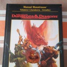 Juegos Antiguos: MANUAL MONSTRUOSO ADVANCED DUNGEONS ROL MONSTRUOS VOL. I. Lote 229822275