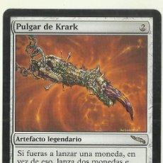 Jogos Antigos: CARTA MAGIC THE GATHERING. DECKMASTER. PULGAR DE KRARK. ARTEFACTO LEGENDARIO. RON SPENCER. Lote 233984605