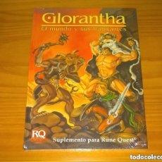 Juegos Antiguos: GLORANTHA EL MUNDO Y SUS HABITANTES RUNEQUEST JUEGO DE ROL SUPLEMENTO JOC INTERNACIONAL PRECINTADO. Lote 295749498