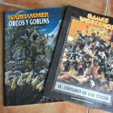 Juegos Antiguos: GAMES WORKSHOP WARHAMMER ORCOS Y GOBLINS+EL UNIVERSO DE LOS JUEGOS. Lote 41710732
