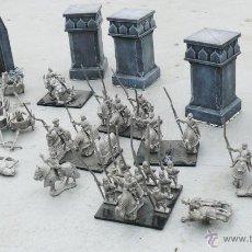 Juegos Antiguos: ALUCINANTES FIGURAS WARHAMMER EN PLOMO CABALLEROS MEDIEVALES CUADRIGAS CABALLOS TORRES. Lote 42543357