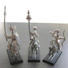 Juegos Antiguos: LOTE DE 3 FIGURAS DE WARHAMMER CABALLOS DE PLASTICO Y JINETES DE PLOMO. Lote 45101632