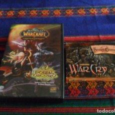 Juegos Antiguos: ESTUCHE WAR CRY LAS HORDAS DE LAS TINIEBLAS 131 CARD Y WORLD WARCRAFT A TRAVÉS DEL PORTAL OSCURO.... Lote 85976372