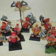 Juegos Antiguos: WARHAMMER FIGURAS METAL, LOTE 10 ENANOS, SLAYERS, BERSERKERS, HARGRIM'S LEGION, DWARFS. Lote 102065947