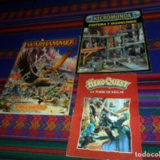Juegos Antiguos: WARHAMMER REGLAMENTO CASTELLANO, NECROMUNDA PINTURA Y MODELISMO, LA TORRE DE KELLAR MANUAL HEROQUEST. Lote 128988627