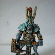 Juegos Antiguos: WARHAMMER CAOS CAUDILLO HOMBRE BESTIA, BEASTLORD METAL EDITION PAINTED OUT OF PRINT. Lote 143373898