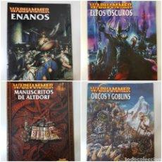 Juegos Antiguos: LOTE 4 LIBROS EJÉRCITO WARHAMMER - ENANOS - ELFOS OSCUROS - ORCOS Y GOBLINS Y MUANUSCRITO DE ALTDORF. Lote 145537662