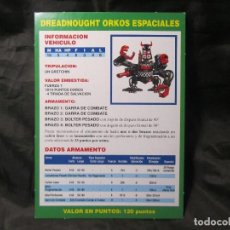 Juegos Antiguos: ANTIGUA FICHA DE DREADNOUGHT ORKO SEGUNDA EDICIÓN WARHAMMER 40000. Lote 163722034