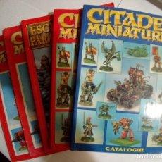Juegos Antiguos: LOTE DE 2 CATALOGOS CITADEL MINIATURAS ROJO Y AZUL+ESCENOGRAFIA WARHAMMER+2 MINI GUIAS PINTURA. Lote 172374038