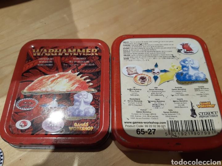 Juegos Antiguos: Caja de fichas y marcadores para warhammer original de games workshop - Foto 3 - 184110340