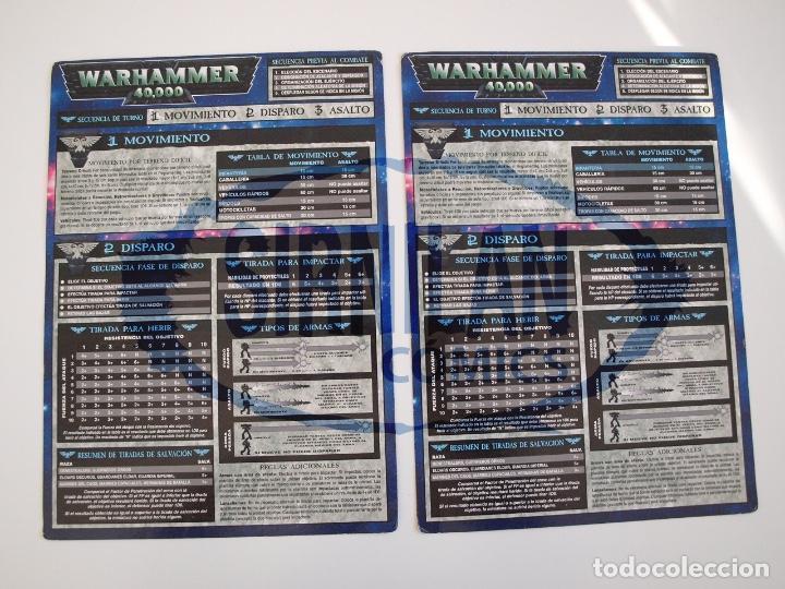 2 TABLAS DE REFERENCIA RÁPIDA DE WARHAMMER 40,000 - GAMES WORKSHOP - MINIATURAS CITADEL (Juguetes - Rol y Estrategia - Warhammer)