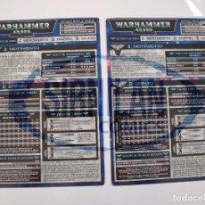 Juegos Antiguos: 2 TABLAS DE REFERENCIA RÁPIDA DE WARHAMMER 40,000 - GAMES WORKSHOP - MINIATURAS CITADEL. Lote 226259025