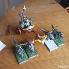 Juegos Antiguos: WARHAMMER FANTASY (OLDHAMMER): GROM EL PANZUDO EN CARRO EJERCITO ORCOS Y GOBLINS. Lote 235366065