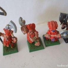 Jeux Anciens: WARHAMMER FANTASY (OLDHAMMER): 4 ALEGRES MATADORES DE PLOMO EJERCITO ENANO. Lote 236612720