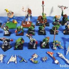 Juegos Antiguos: LOTE 20 FIGURAS PINTADAS WARHAMMER PLOMO + ACCESORIOS Y RESTOS, LO QUE SE VE EN LAS FOTOS. Lote 264424449