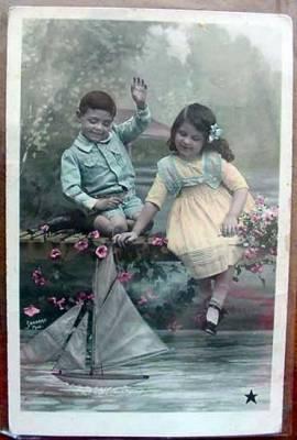 Antigua Postal De Ninos Jugando 1912 Comprar Juegos Antiguos
