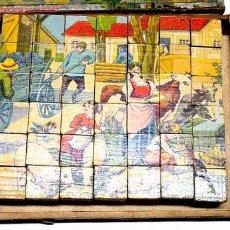 Juegos antiguos: ANTIGUO ROMPECABEZAS DE CUBOS DE MADERA CON PAPEL LITOGRAFIADO - EPOCA VICTORIANA - RARO Y PRECIOSO. Lote 26947823