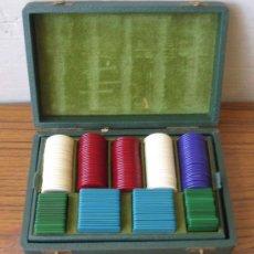 Juegos antiguos: ESTUCHE CON FICHAS DE JUEGO .. CAJA DE PIEL. Lote 19499634