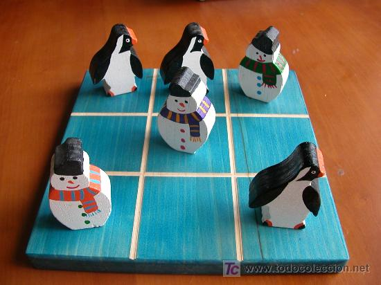Pinguinos Tres En Raya Hecho A Mano Comprar Juegos Antiguos