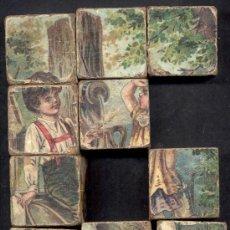 Juegos antiguos: JUEGO DE CUBOS ROMPECABEZAS MADERA LITOGRAFIADO SXIX ALEMANIA. Lote 12485596