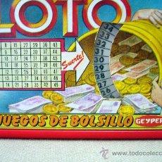 Juegos antiguos: JUEGO DE BOLSILLO, LOTO, LOTERIA PRIMITIVA, FABRICADO POR GEYPER, 12X 7 X 1,8 CM. Lote 32719458