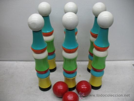 ANTIGUO JUEGO DE 6 BOLOS Y TRES PELOTAS (Juguetes - Juegos - Otros)