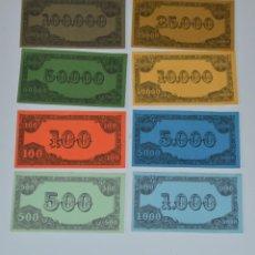 Juegos antiguos: BILLETES JUEGO NUEVOS. 8 VALORES DIFERENTES. Lote 39790431