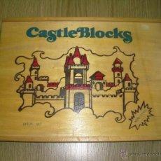 Juegos antiguos: JUEGO DE CONSTRUCCION DE MADERA CASTLE BLOCKS AÑOS 80 NUEVO EN CAJA 109 PIEZAS CASTILLOS TIPO EXIN. Lote 46367622