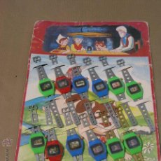 Juegos antiguos: EXPOSITOR COMPLETO 12 RELOJES HEIDI 1978. Lote 47775995