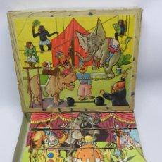Juegos antiguos: ANTIGUO ROMPECABEZAS CON 6 ILUSTRACIONES DE CIRCO, CUBOS DE CARTON, LA CAJA MIDE 24,5 X 20,5 CMS, LE. Lote 48532551