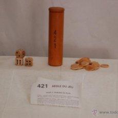 Juegos antiguos: JUEGO EN MADERA . 4 2 1 (DADOS + FICHAS). Lote 50476789