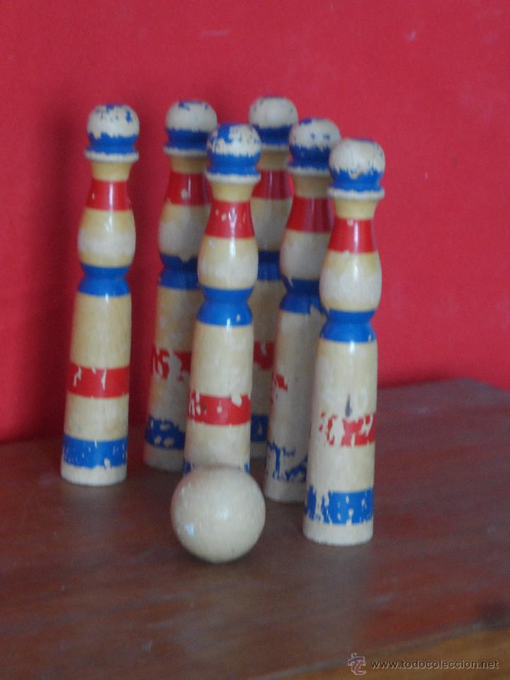 Juegos antiguos: bonito juego de bolos antiguo 6 bolos y su bola de madera - Foto 2 - 52464393